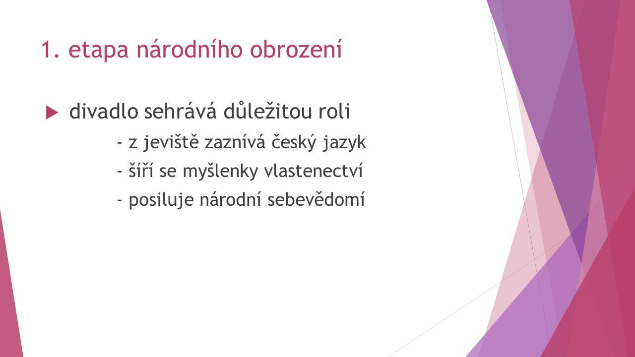 1. etapa národního obrození  divadlo sehrává důležitou roli - z jeviště zaznívá český jazyk - šíří se myšlenky vlastenectví - posiluje národní sebevě