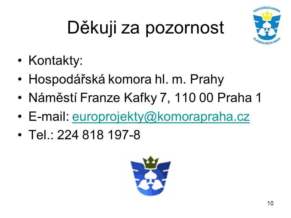 10 Děkuji za pozornost Kontakty: Hospodářská komora hl. m. Prahy Náměstí Franze Kafky 7, 110 00 Praha 1 E-mail: europrojekty@komorapraha.czeuroprojekt