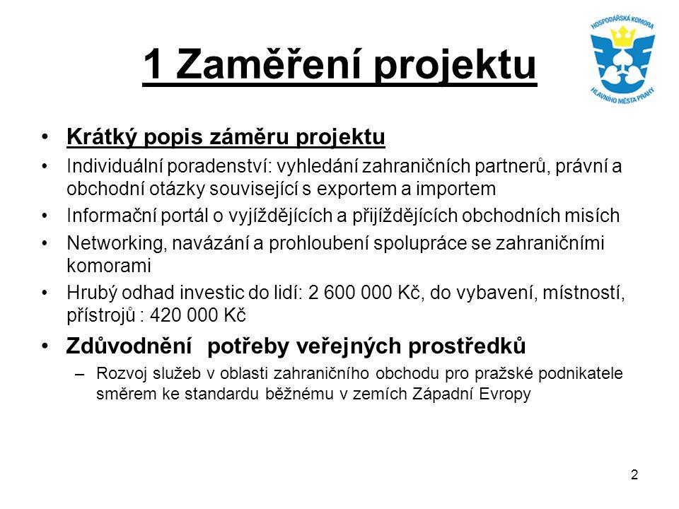 2 1 Zaměření projektu Krátký popis záměru projektu Individuální poradenství: vyhledání zahraničních partnerů, právní a obchodní otázky související s e