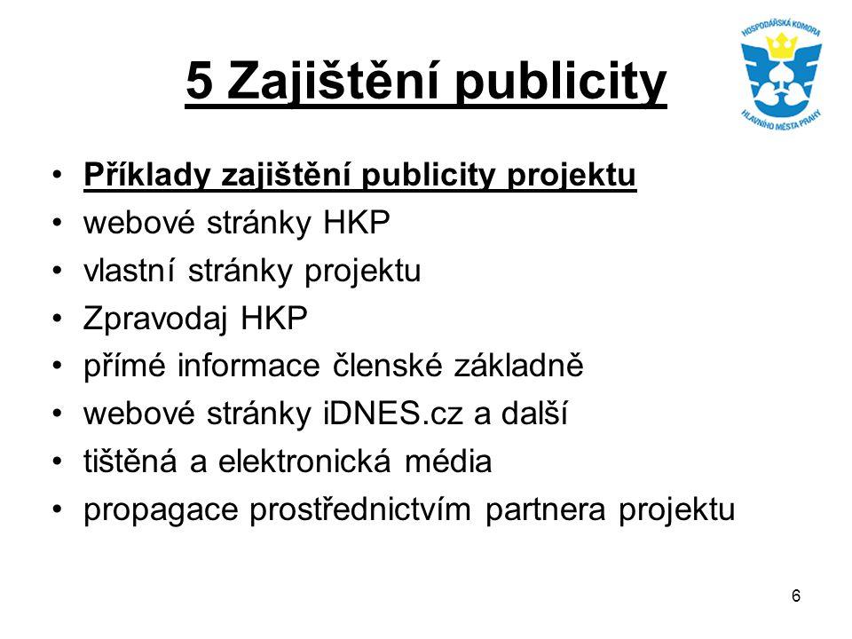 6 5 Zajištění publicity Příklady zajištění publicity projektu webové stránky HKP vlastní stránky projektu Zpravodaj HKP přímé informace členské základ