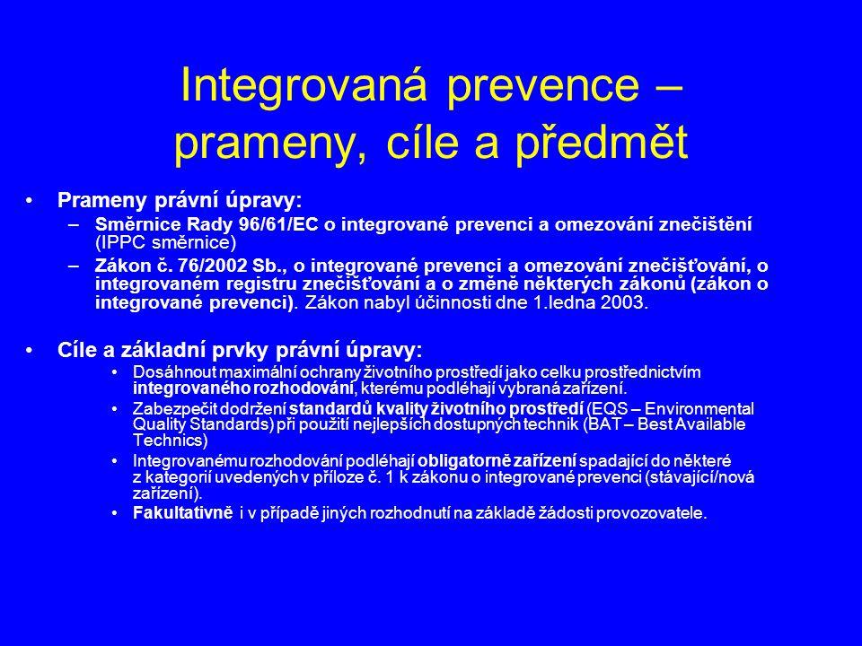 Integrovaná prevence – prameny, cíle a předmět Prameny právní úpravy: –Směrnice Rady 96/61/EC o integrované prevenci a omezování znečištění (IPPC směrnice) –Zákon č.