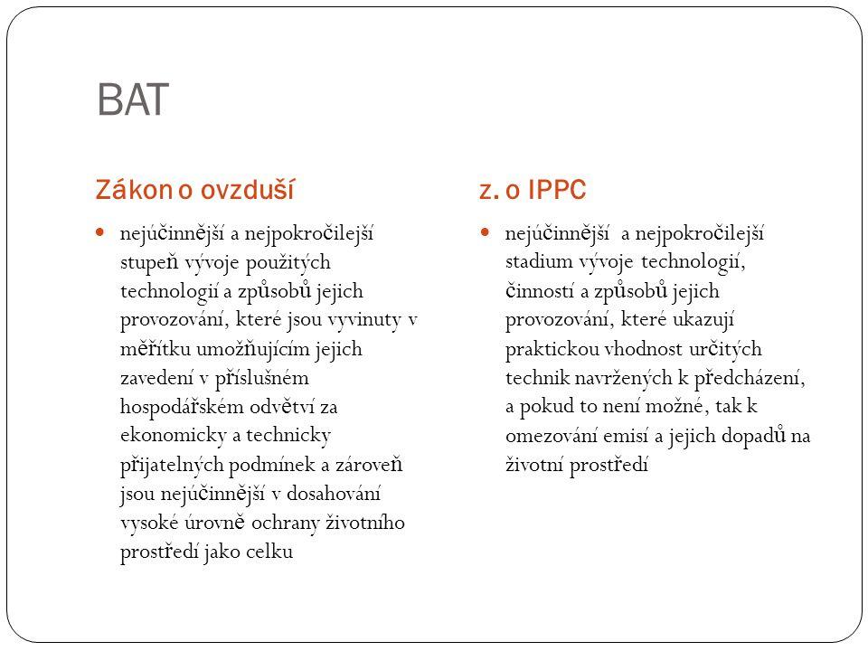 Referenční dokumenty BREF Souhrnn ě uvádí informace o evropských nejlepších dostupných technikách.