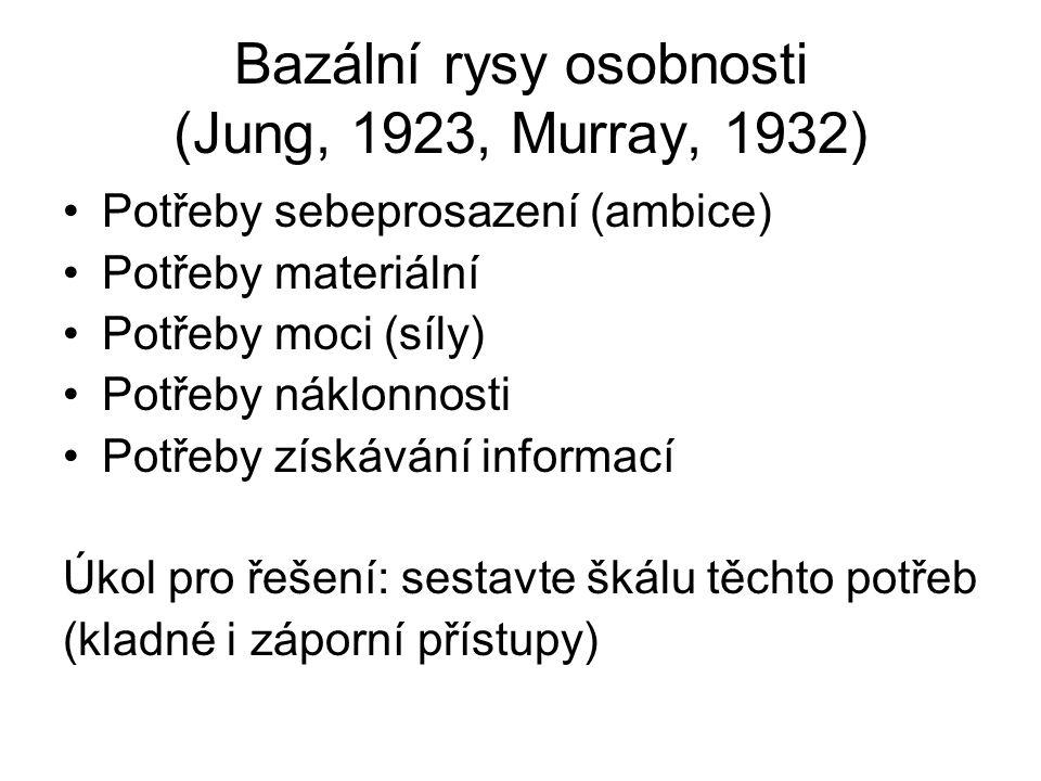 Pětifaktorový model osobnosti (Big Five) Cattell (1947) 16 faktorů osobnosti – faktorová analýza 1970 – po snaze zjednodušit škálu vytvořil 8 faktorů (Tupes, Christal, Norman) Eysenck (1970) tři faktory – neuroticismus, extraverze, psychotismus Peabody, Goldberg (1989): Síla, láska, práce, cit, rozum