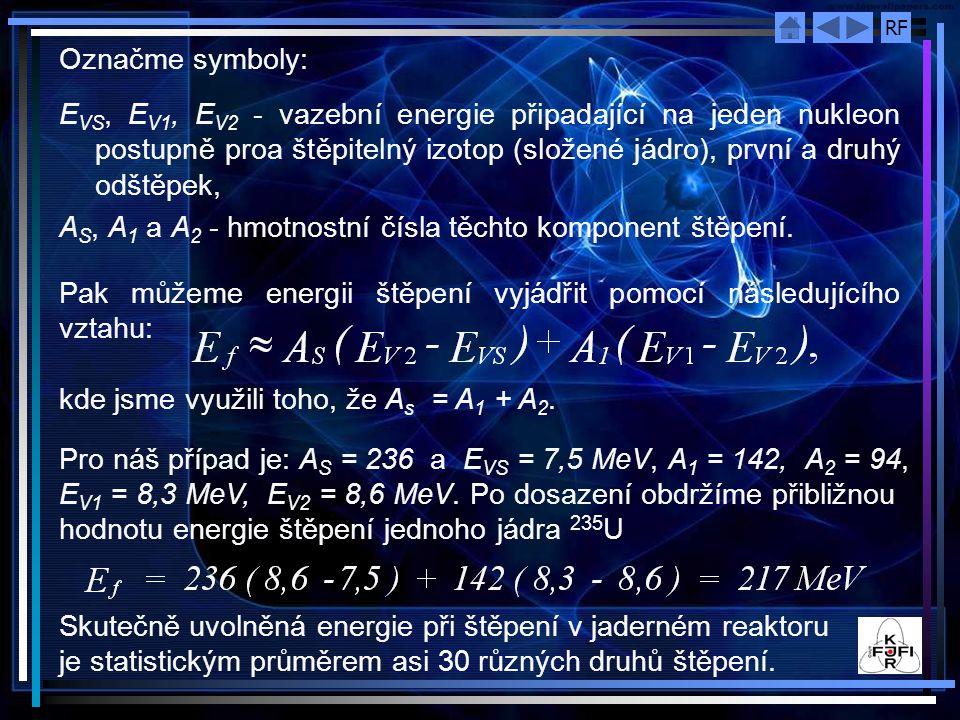 RF Označme symboly: E VS, E V1, E V2 - vazební energie připadající na jeden nukleon postupně proa štěpitelný izotop (složené jádro), první a druhý odš