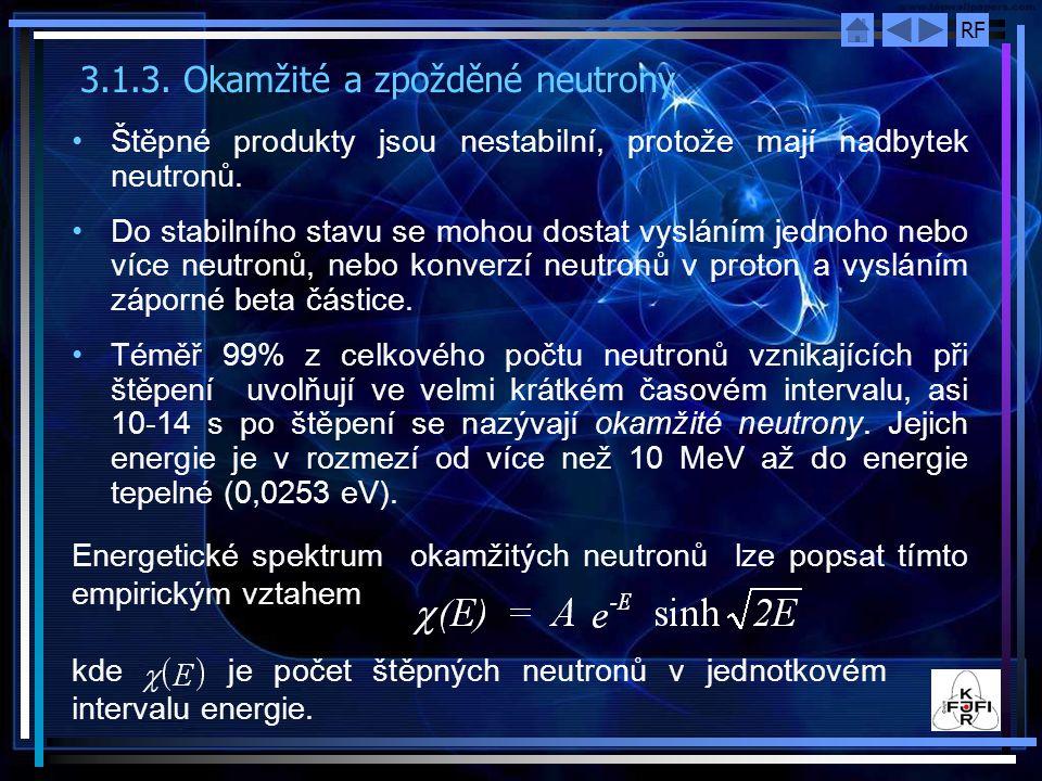 RF Distribuční funkce je sestavena z experimentálních údajů až do energie 13 MeV s maximální odchylkou 15%.