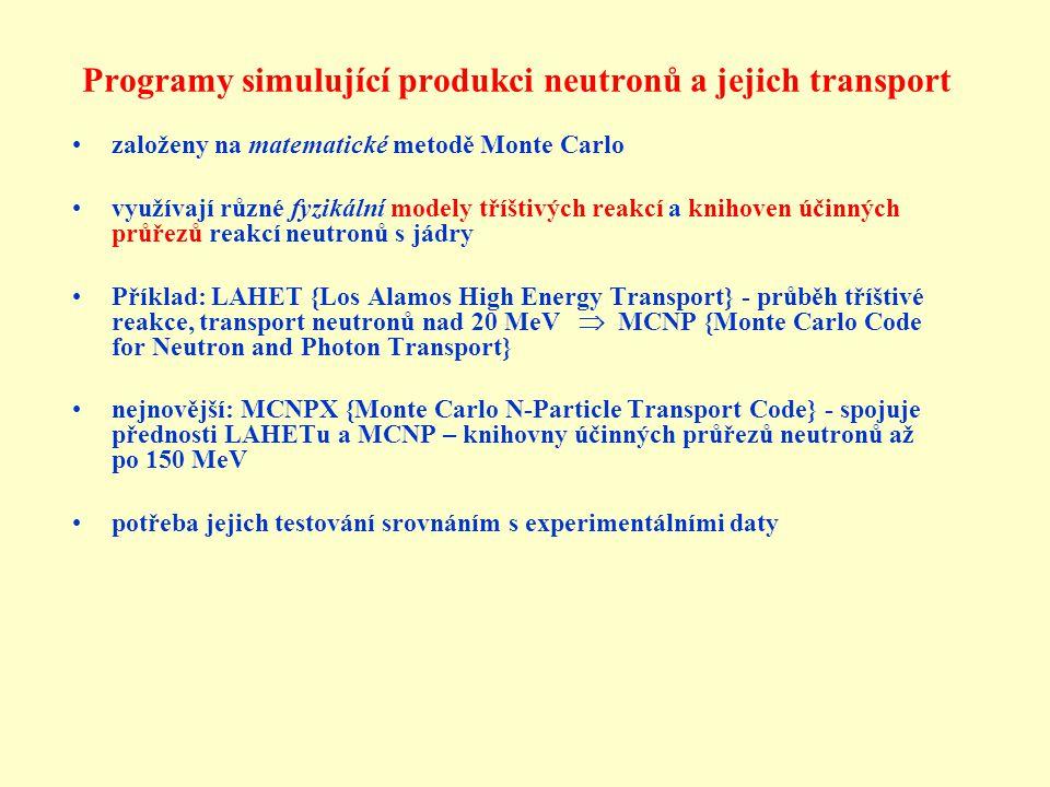 Programy simulující produkci neutronů a jejich transport založeny na matematické metodě Monte Carlo využívají různé fyzikální modely tříštivých reakcí