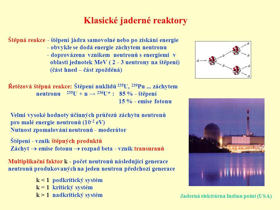 Co, jak, kdy, kde řešit Technologické: 1) Studie zdrojů neutronů založených na tříštivých reakcích 2) Studie okolo rychlých reaktorů 3) Studie jaderně chemických metod separace 4) Studie odvodu tepla, radiačního poškození, materiálové studie Studie tříštivých reakcí a produkce neutronů: 1) Studie účinných průřezů a produktů tříštivých reakcí na tenkých terčích 2) Studie účinných průřezů jednotlivých reakcí neutronů na tenkých terčích, hlavně pro vyšší energie → vypracování co nejpřesnějších knihoven účinných průřezů a modelů tříštivých reakcí Studie produkce neutronů na tlustých terčích a jejich transportu: 1) Studie neutronového pole v různých místech kolem i uvnitř terče a v různých místech komplikovaných sestav 2) Studie transmutací radioaktivních izotopů v různých sestavách → vypracování programu umožňující přesně simulovat a projektovat různé sestavy Je třeba i pro oblast vyšších energií neutronů a jejich vysoké hustoty dosáhnout přesnosti standardní pro klasické reaktory.