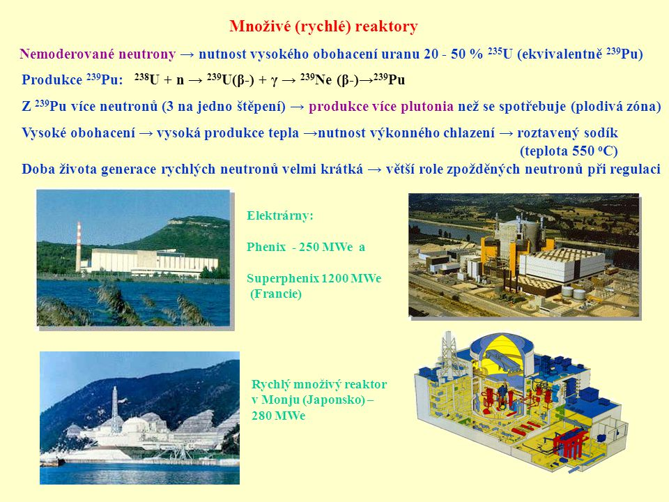 Jaderný odpad - vyhořelé palivo Složení: 96 % uran (~1% 235 U) 1 % transurany 3 % štěpné produkty (stabilní, krátkodobé, dlouhodobé) Některé dlouhodobé radioaktivní štěpné produkty: 99 Tc (2.1  10 5 let), 129 I (1.57  10 7 let), 135 Cs (2.3  10 6 let) Dlouhodobé transurany: 237 Np (2.3  10 6 let), 239 Pu (2.3  10 6 let), 240 Pu (6.6  10 3 let), 244 Pu (7.6  10 7 let), 243 Am (7.95  10 3 let) Roční produkce jaderného odpadu ve Francii (75% energie): Vysoce aktivní (1000 Mbq/g) : 100 m 3 Středně aktivní (1 Mbq/g) : 10000 m 3 Výměna paliva v reaktorů (USA) Vnitřek reaktoru při výměně palivaTesty vyhořelého paliva (Monju Přechodné uložení - důležitý odvod tepla při počáteční fázi (vodní bazény) Přepracování vyhořelého paliva Zpracování a uložení jaderného odpadu