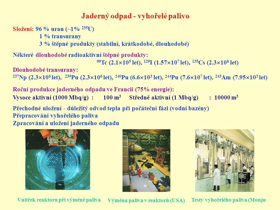 Přepracování, přechodná a trvalá úložiště Přechodná úložiště: a) mezisklady - chladnutí vyhořelého paliva b) přechodná - rozpad krátkodobějších izotopů po 40 letech hlavně 90 Sr (28 let) a 137 Cs (30 let) a dlouhodobé transurany Přepracování vyhořelého paliva - MOX Rizika: manipulace s vysoce radioaktivním materiálem možnost získání plutonia zneužitelného k výrobě bomby Přepracování vyhořelého paliva, olovnatého sklo - stínění záření gama Elektrárna Fermi 1 (USA) Mokrý mezisklad ve Francii