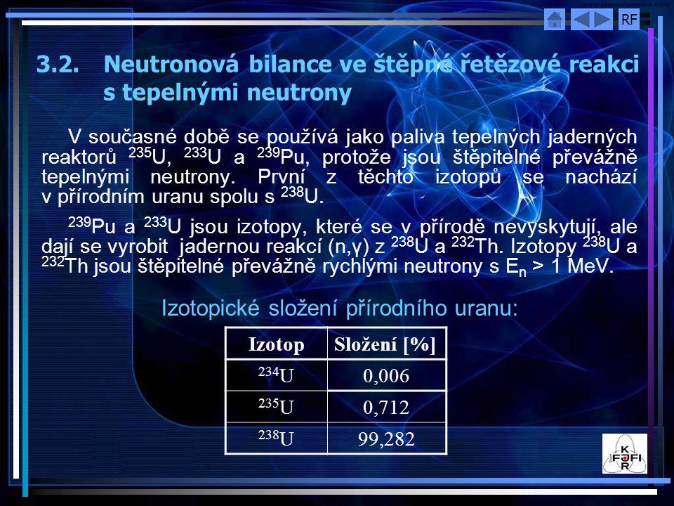 RF 3.2. Neutronová bilance ve štěpné řetězové reakci s tepelnými neutrony V současné době se používá jako paliva tepelných jaderných reaktorů 235 U, 2