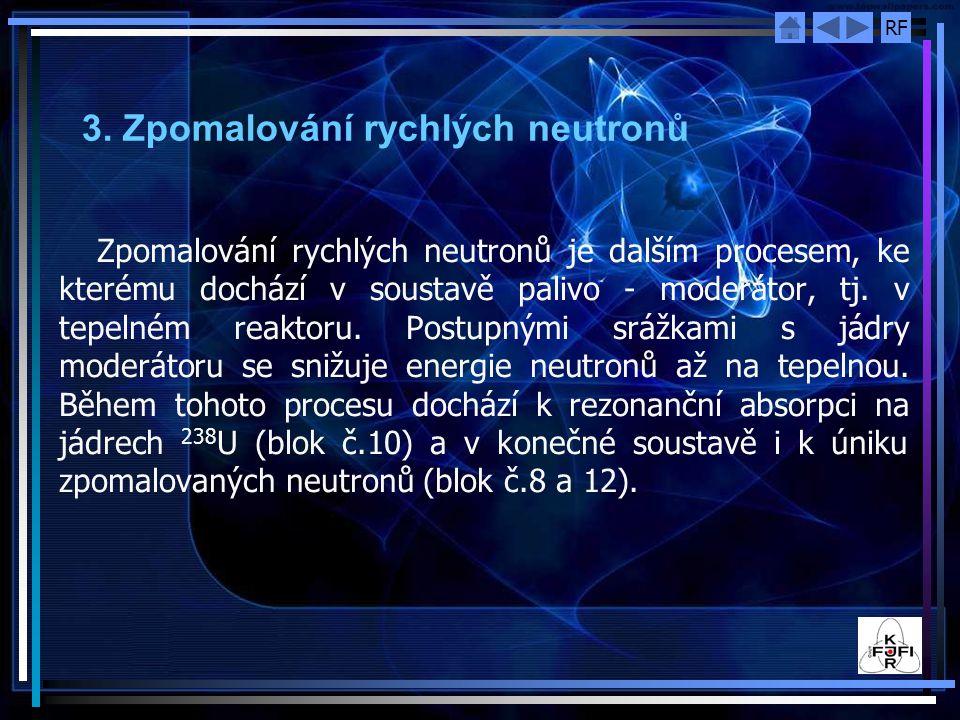 RF 3. Zpomalování rychlých neutronů Zpomalování rychlých neutronů je dalším procesem, ke kterému dochází v soustavě palivo ‑ moderátor, tj. v tepelném