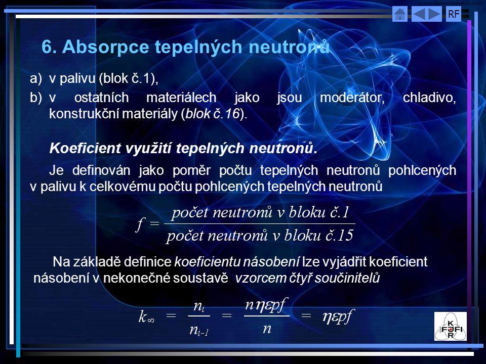 RF 6. Absorpce tepelných neutronů a)v palivu (blok č.1), b)v ostatních materiálech jako jsou moderátor, chladivo, konstrukční materiály (blok č.16). K