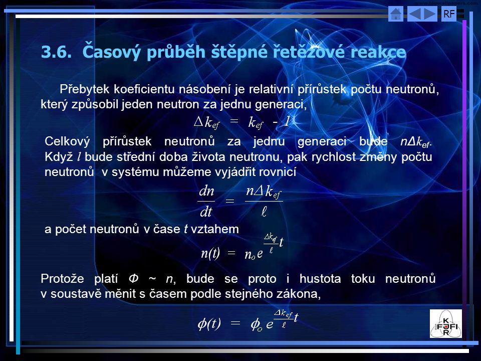 RF 3.6. Časový průběh štěpné řetězové reakce Přebytek koeficientu násobení je relativní přírůstek počtu neutronů, který způsobil jeden neutron za jedn