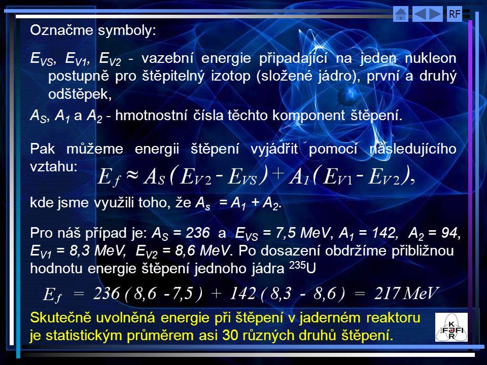 RF Označme symboly: E VS, E V1, E V2 - vazební energie připadající na jeden nukleon postupně pro štěpitelný izotop (složené jádro), první a druhý odšt