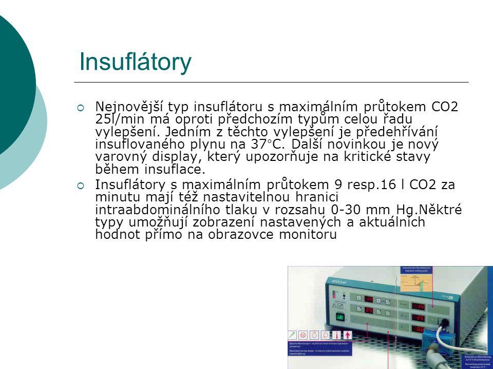 Insuflátory  Nejnovější typ insuflátoru s maximálním průtokem CO2 25l/min má oproti předchozím typům celou řadu vylepšení. Jedním z těchto vylepšení