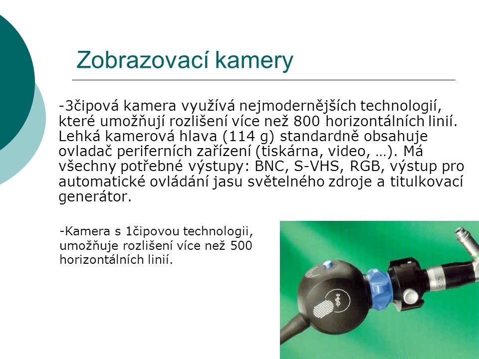 Zobrazovací kamery -3čipová kamera využívá nejmodernějších technologií, které umožňují rozlišení více než 800 horizontálních linií. Lehká kamerová hla