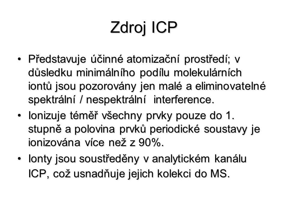 Zdroj ICP Představuje účinné atomizační prostředí; v důsledku minimálního podílu molekulárních iontů jsou pozorovány jen malé a eliminovatelné spektrá