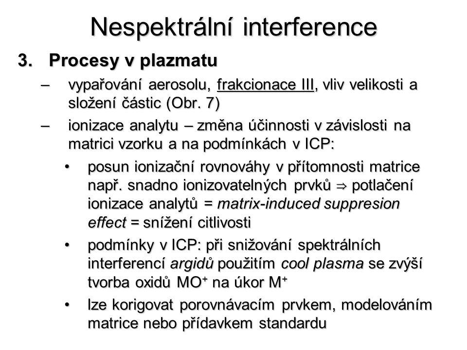 Nespektrální interference 3.Procesy v plazmatu –vypařování aerosolu, frakcionace III, vliv velikosti a složení částic (Obr. 7) –ionizace analytu – změ