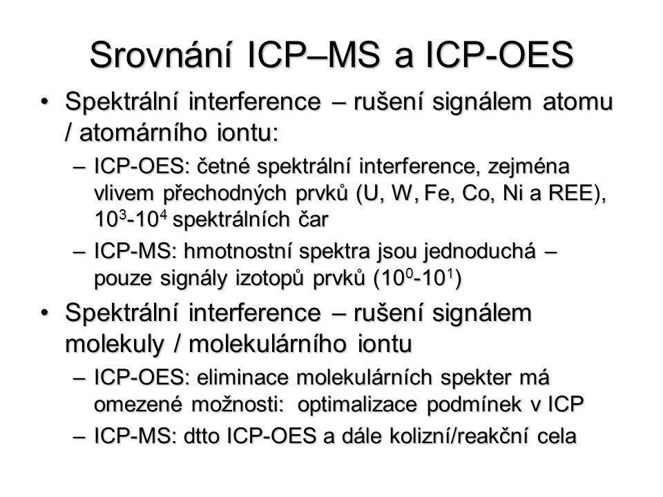 Srovnání ICP–MS a ICP-OES Spektrální interference – rušení signálem atomu / atomárního iontu:Spektrální interference – rušení signálem atomu / atomárního iontu: –ICP-OES: četné spektrální interference, zejména vlivem přechodných prvků (U, W, Fe, Co, Ni a REE, 10 3 -10 4 spektrálních čar –ICP-OES: četné spektrální interference, zejména vlivem přechodných prvků (U, W, Fe, Co, Ni a REE), 10 3 -10 4 spektrálních čar –ICP-MS: hmotnostní spektra jsou jednoduchá – pouze signály izotopů prvků (10 0 -10 1 ) Spektrální interference – rušení signálem molekuly / molekulárního iontuSpektrální interference – rušení signálem molekuly / molekulárního iontu –ICP-OES: eliminace molekulárních spekter má omezené možnosti: optimalizace podmínek v ICP –ICP-MS: dtto ICP-OES a dále kolizní/reakční cela