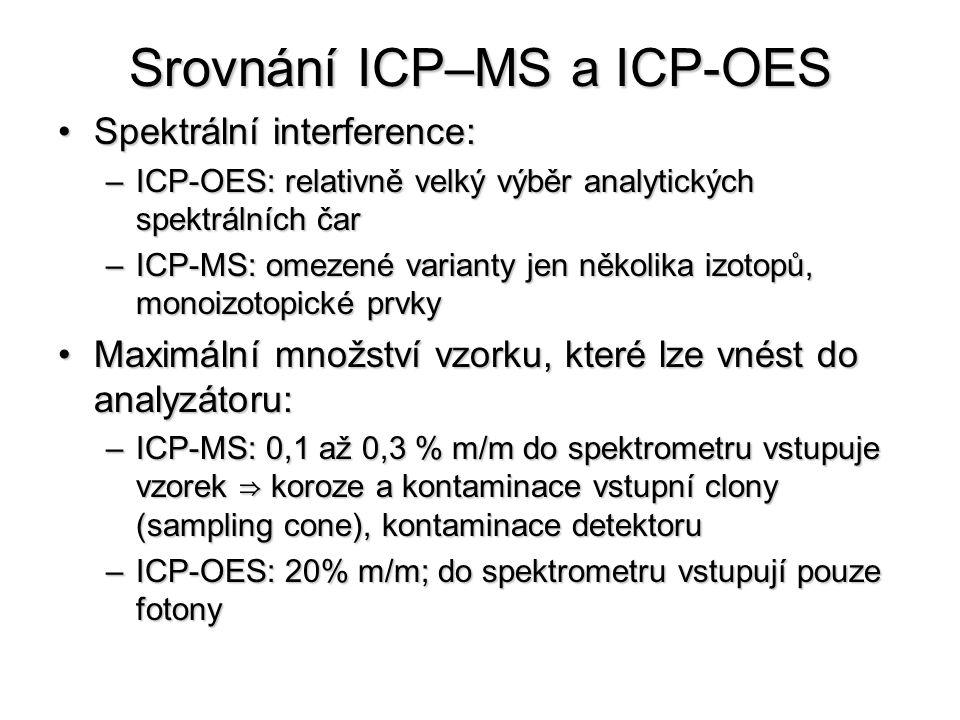 Srovnání ICP–MS a ICP-OES Spektrální interference:Spektrální interference: –ICP-OES: relativně velký výběr analytických spektrálních čar –ICP-MS: omezené varianty jen několika izotopů, monoizotopické prvky Maximální množství vzorku, které lze vnést do analyzátoru:Maximální množství vzorku, které lze vnést do analyzátoru: –ICP-MS: 0,1 až 0,3 % m/m do spektrometru vstupuje vzorek ⇒ koroze a kontaminace vstupní clony (sampling cone), kontaminace detektoru –ICP-OES: 20% m/m; do spektrometru vstupují pouze fotony