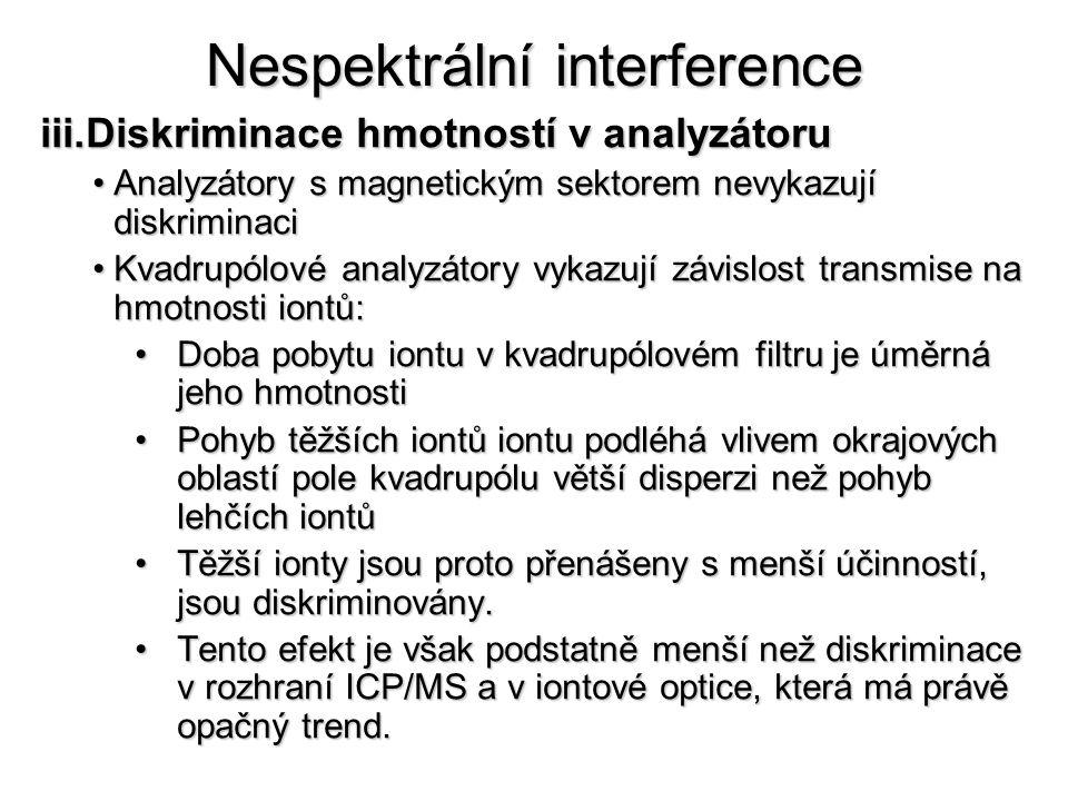 Nespektrální interference iii.Diskriminace hmotností v analyzátoru Analyzátory s magnetickým sektorem nevykazují diskriminaciAnalyzátory s magnetickým sektorem nevykazují diskriminaci Kvadrupólové analyzátory vykazují závislost transmise na hmotnosti iontů:Kvadrupólové analyzátory vykazují závislost transmise na hmotnosti iontů: Doba pobytu iontu v kvadrupólovém filtru je úměrná jeho hmotnostiDoba pobytu iontu v kvadrupólovém filtru je úměrná jeho hmotnosti Pohyb těžších iontů iontu podléhá vlivem okrajových oblastí pole kvadrupólu větší disperzi než pohyb lehčích iontůPohyb těžších iontů iontu podléhá vlivem okrajových oblastí pole kvadrupólu větší disperzi než pohyb lehčích iontů Těžší ionty jsou proto přenášeny s menší účinností, jsou diskriminovány.Těžší ionty jsou proto přenášeny s menší účinností, jsou diskriminovány.
