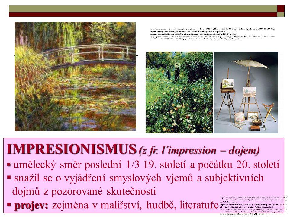Výstava Salon odmítnutých OFICIÁLNÍ UMĚNÍ = AKADEMICKÉ  vyumělkované kompozice  na protest proti odmítnutí oficiálním Salonem (1863 pořádaný Francouzskou královskou akademií) SALON ODMÍTNUTÝCH  malíři se toulali se svými stojany ve volné přírodě, v prudké záplavě světla a barev slunečných dní ÉDOUARD MANET Uznávaným vůdcem: ÉDOUARD MANET http://www.google.cz/imgres?q=edouard+manet&hl=cs&bi w=1280&bih=766&tbm=isch&tbnid=TpoWCZ0nsVN15M: &imgrefurl=http://www.artble.com/artists/edouard_manet& docid=97qpm_xkP3qcPM&imgurl=http://www.artble.com/i mgs/7/c/7/65003/edouard_manet.jpg&w=307&h=420&ei=l 7cfUOqxGuau0QXTxIHQCg&zoom=1&iact=hc&vpx=504 &vpy=273&dur=907&hovh=263&hovw=192&tx=93&ty=1 57&sig=104430009650744727929&page=1&tbnh=126&tb nw=92&start=0&ndsp=30&ved=1t:429,r:9,s:0,i:112
