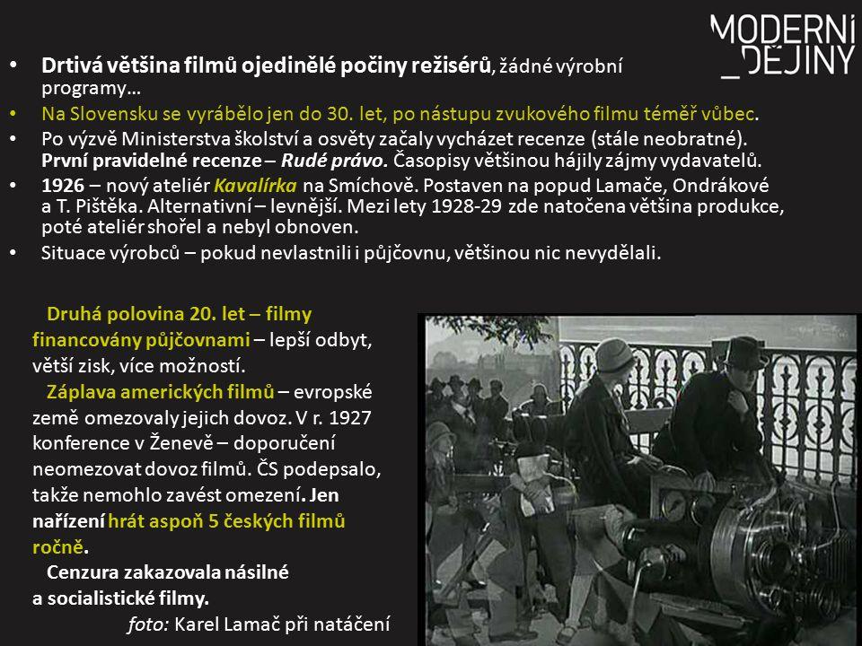 Drtivá většina filmů ojedinělé počiny režisérů, žádné výrobní programy… Na Slovensku se vyrábělo jen do 30. let, po nástupu zvukového filmu téměř vůbe