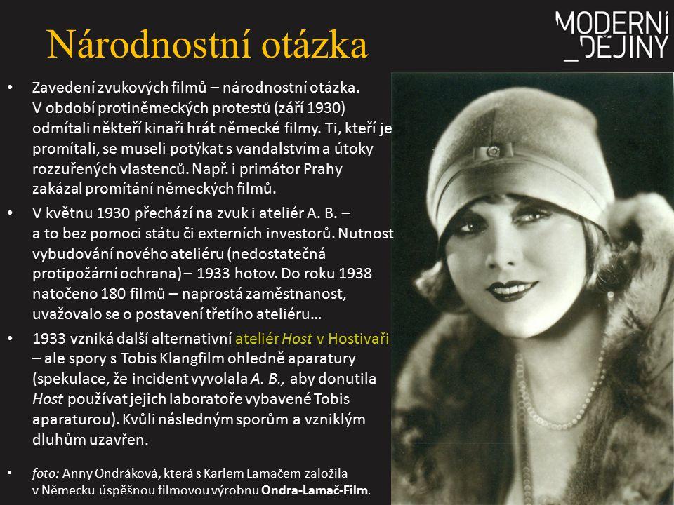 Národnostní otázka Zavedení zvukových filmů – národnostní otázka. V období protiněmeckých protestů (září 1930) odmítali někteří kinaři hrát německé fi