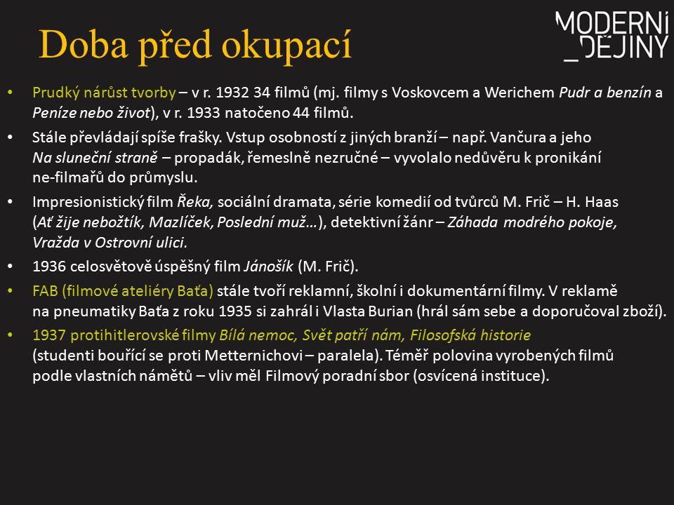 Doba před okupací Prudký nárůst tvorby – v r. 1932 34 filmů (mj. filmy s Voskovcem a Werichem Pudr a benzín a Peníze nebo život), v r. 1933 natočeno 4