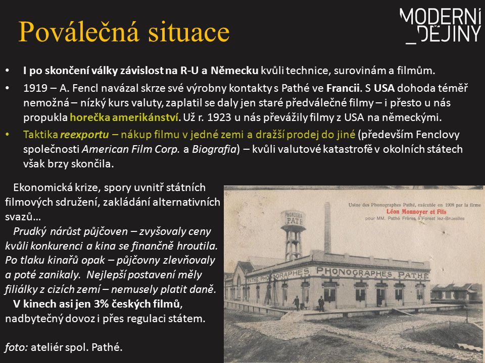 Poválečná situace I po skončení války závislost na R-U a Německu kvůli technice, surovinám a filmům. 1919 – A. Fencl navázal skrze své výrobny kontakt