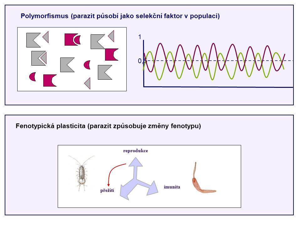 přežití reprodukce imunita Polymorfismus (parazit působí jako selekční faktor v populaci) 1 0,5 Fenotypická plasticita (parazit způsobuje změny fenotypu)