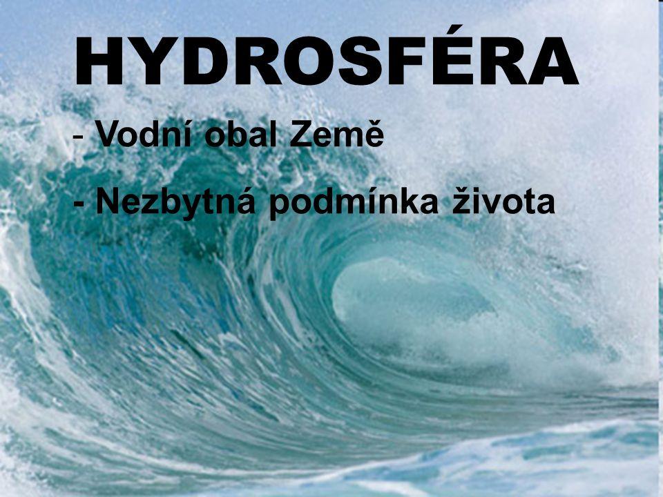 Rozložení vody na Zemi: -Slaná (97,3%): světový oceán 97,22%, vnitrozemská moře a slaná jezera 0,008% -Sladká (2,07%): ledovce 2,1%, podzemní voda 0,62%, půdní voda 0,005%, povrchová voda 0,01%, atmosféra 0,001%, v organismech 0,0001%