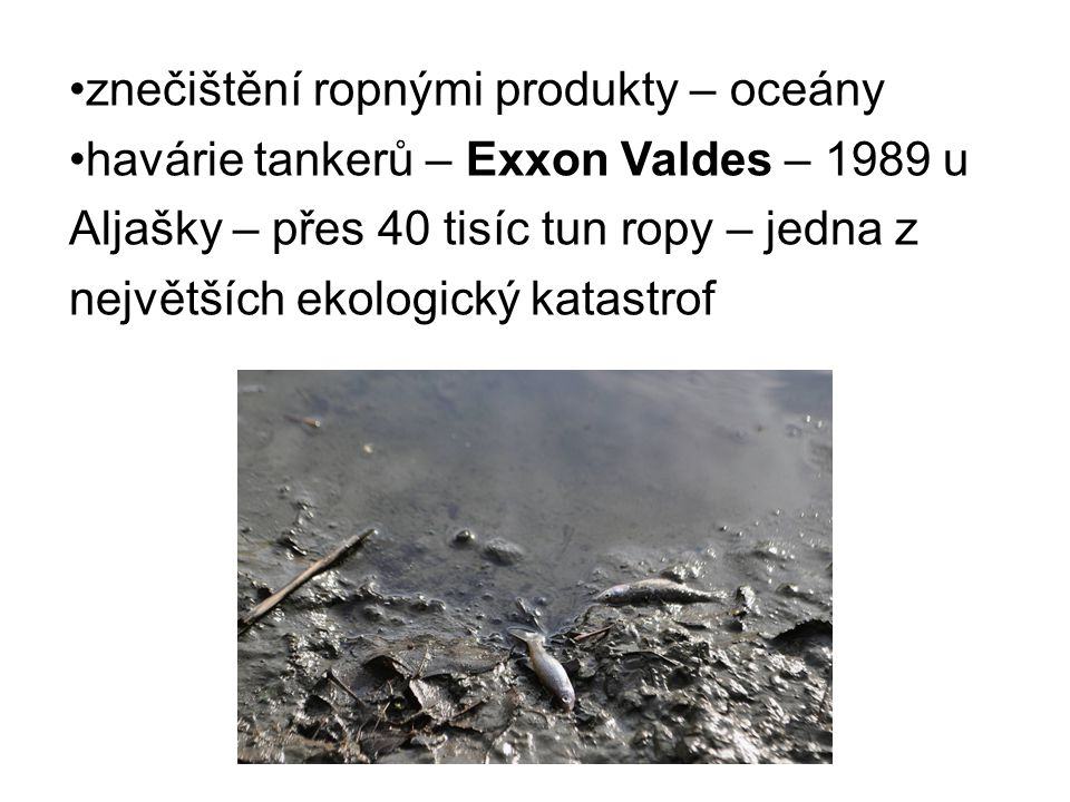 znečištění ropnými produkty – oceány havárie tankerů – Exxon Valdes – 1989 u Aljašky – přes 40 tisíc tun ropy – jedna z největších ekologický katastro