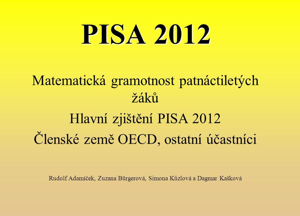 PISA 2012 Matematická gramotnost patnáctiletých žáků Hlavní zjištění PISA 2012 Členské země OECD, ostatní účastníci Rudolf Adamíček, Zuzana Bürgerová,