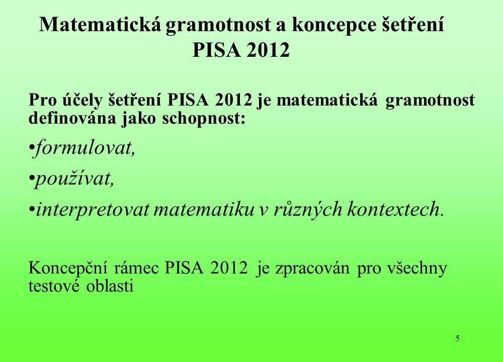 Matematická gramotnost a koncepce šetření PISA 2012 Pro účely šetření PISA 2012 je matematická gramotnost definována jako schopnost: formulovat, použí