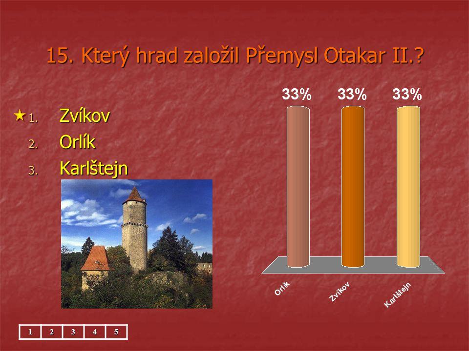 15. Který hrad založil Přemysl Otakar II.? 1. Zvíkov 2. Orlík 3. Karlštejn 12345
