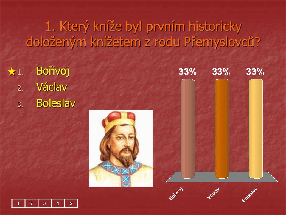 1. Který kníže byl prvním historicky doloženým knížetem z rodu Přemyslovců? 1. Bořivoj 2. Václav 3. Boleslav 12345