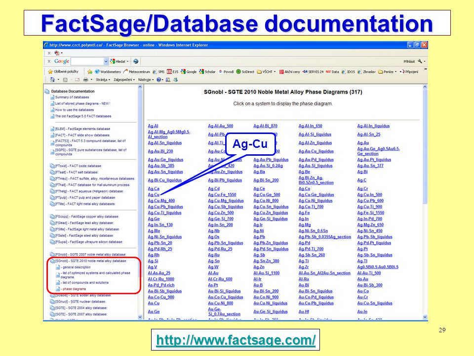 29 FactSage/Database documentation http://www.factsage.com/ Ag-Cu