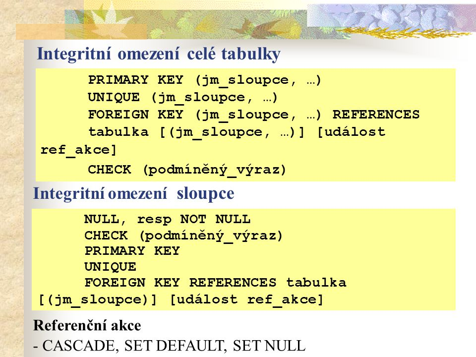 Integritní omezení celé tabulky PRIMARY KEY (jm_sloupce, …) UNIQUE (jm_sloupce, …) FOREIGN KEY (jm_sloupce, …) REFERENCES tabulka [(jm_sloupce, …)] [událost ref_akce] CHECK (podmíněný_výraz) Integritní omezení sloupce NULL, resp NOT NULL CHECK (podmíněný_výraz) PRIMARY KEY UNIQUE FOREIGN KEY REFERENCES tabulka [(jm_sloupce)] [událost ref_akce] Referenční akce - CASCADE, SET DEFAULT, SET NULL
