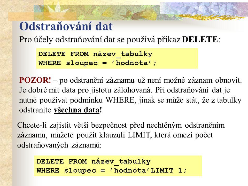 Odstraňování dat POZOR. – po odstranění záznamu už není možné záznam obnovit.