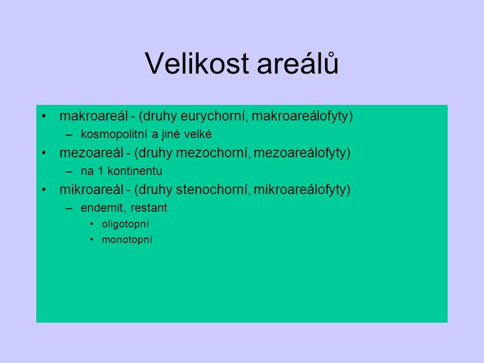 Velikost areálů makroareál - (druhy eurychorní, makroareálofyty) –kosmopolitní a jiné velké mezoareál - (druhy mezochorní, mezoareálofyty) –na 1 konti