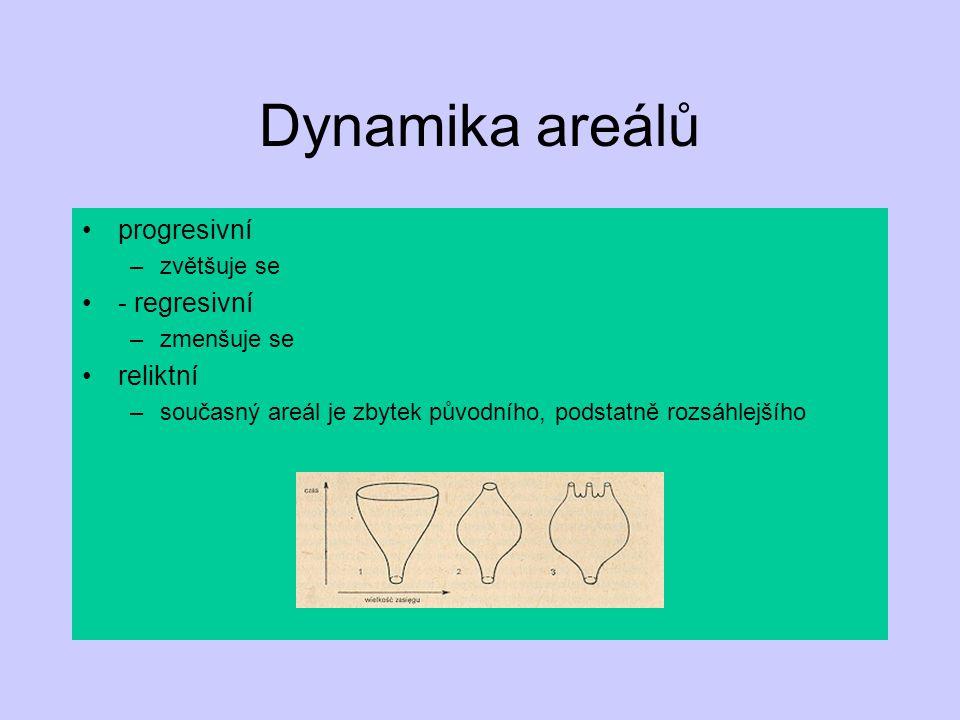 Dynamika areálů progresivní –zvětšuje se - regresivní –zmenšuje se reliktní –současný areál je zbytek původního, podstatně rozsáhlejšího