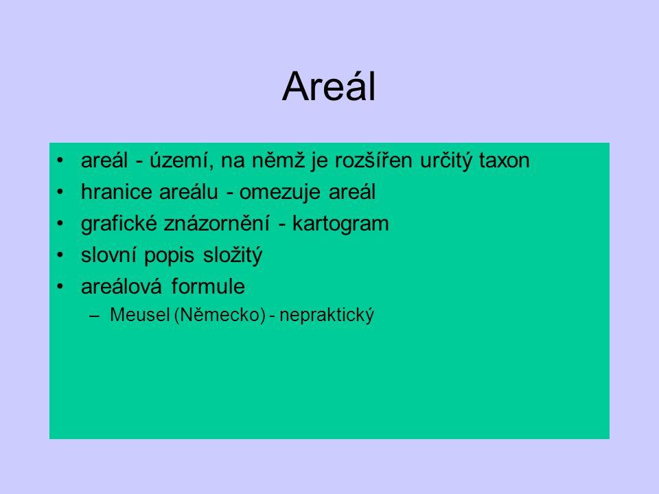Zobrazení areálů shromáždění údajů o výskytu –herbáře –literární prameny –terén konstrukce map –grafická podoba vztahy areálů –vzájemné –k podmínkám prostředí
