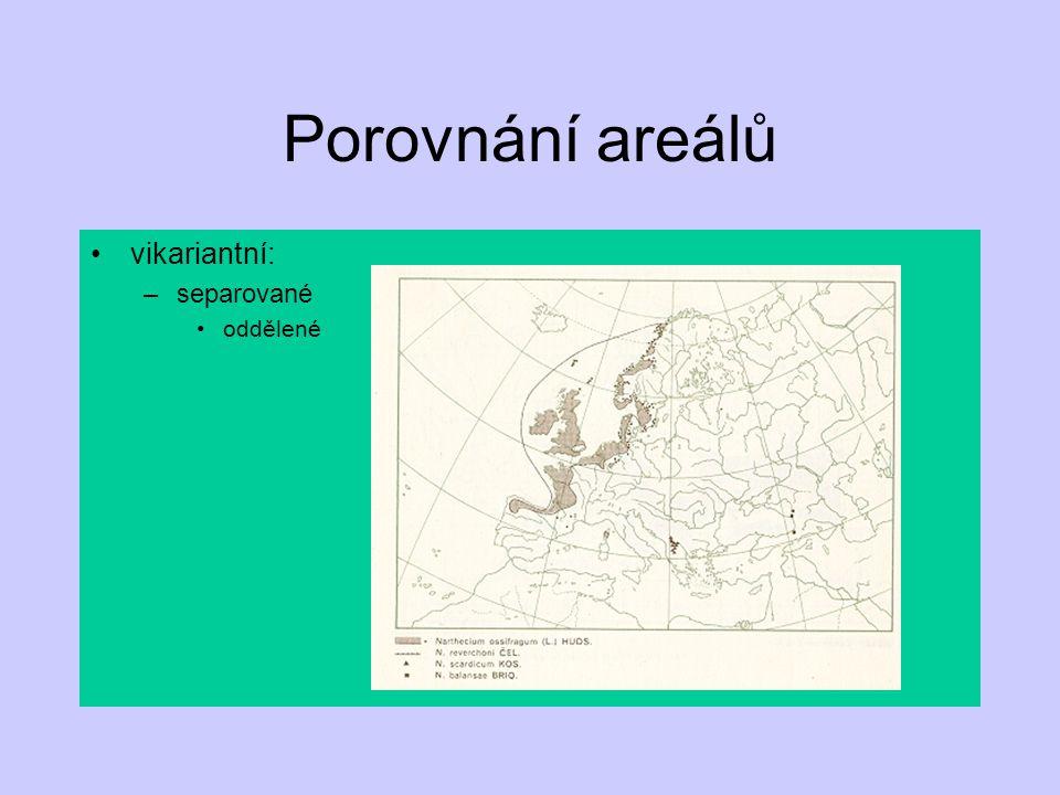 Porovnání areálů vikariantní: –separované oddělené