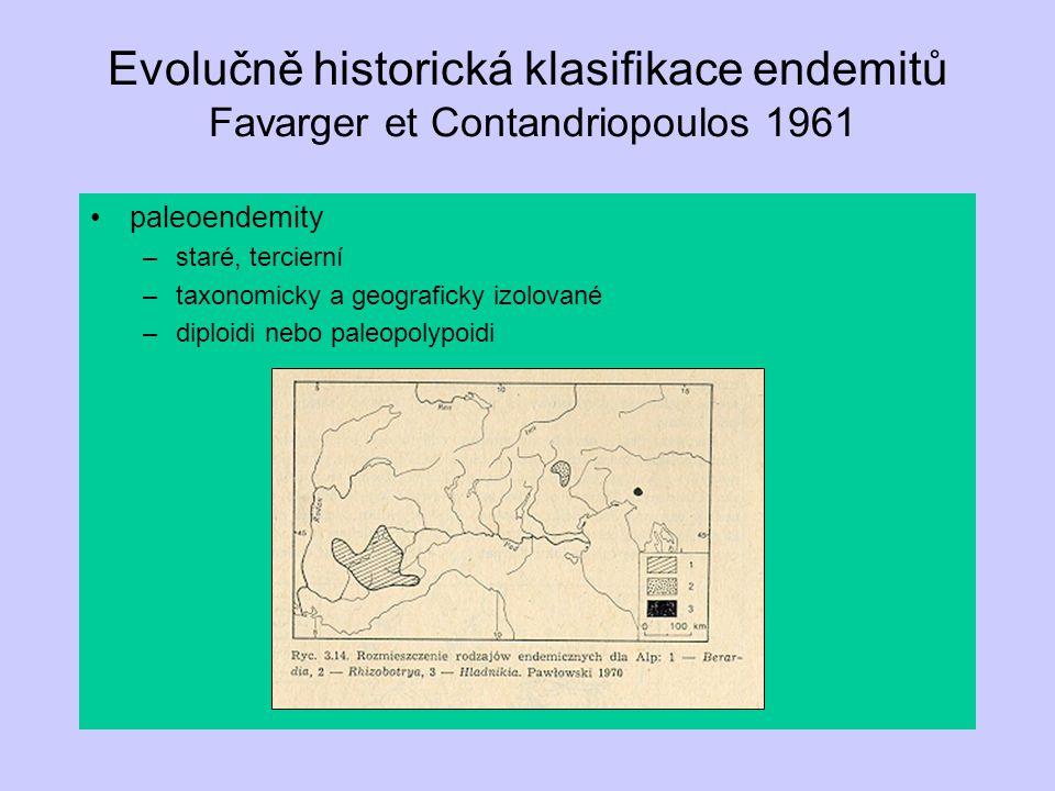Evolučně historická klasifikace endemitů Favarger et Contandriopoulos 1961 paleoendemity –staré, tercierní –taxonomicky a geograficky izolované –diplo
