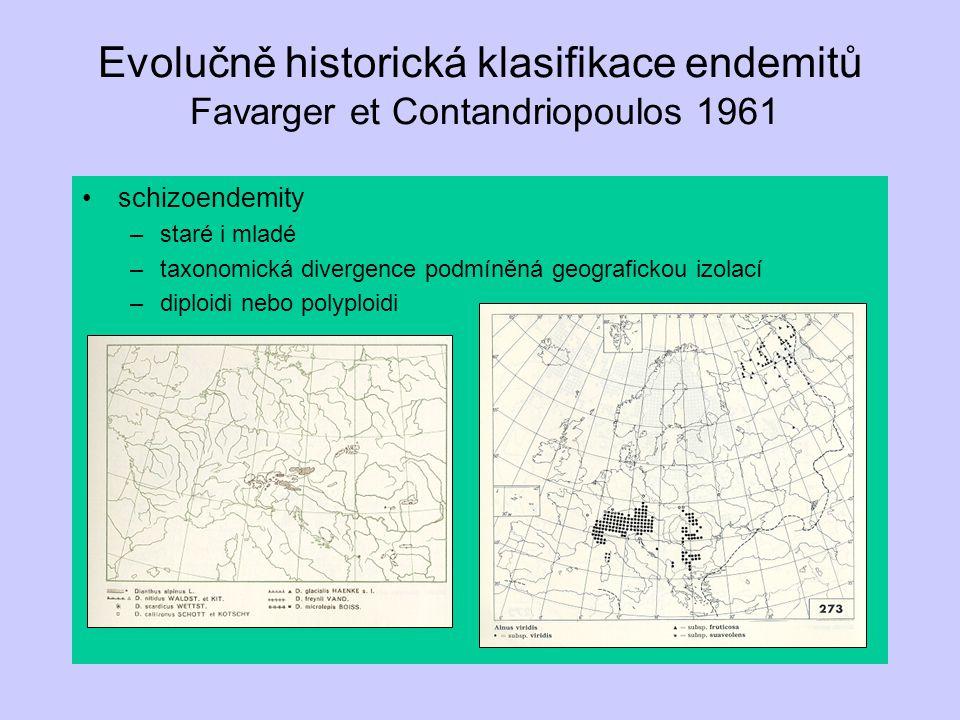 Evolučně historická klasifikace endemitů Favarger et Contandriopoulos 1961 schizoendemity –staré i mladé –taxonomická divergence podmíněná geograficko
