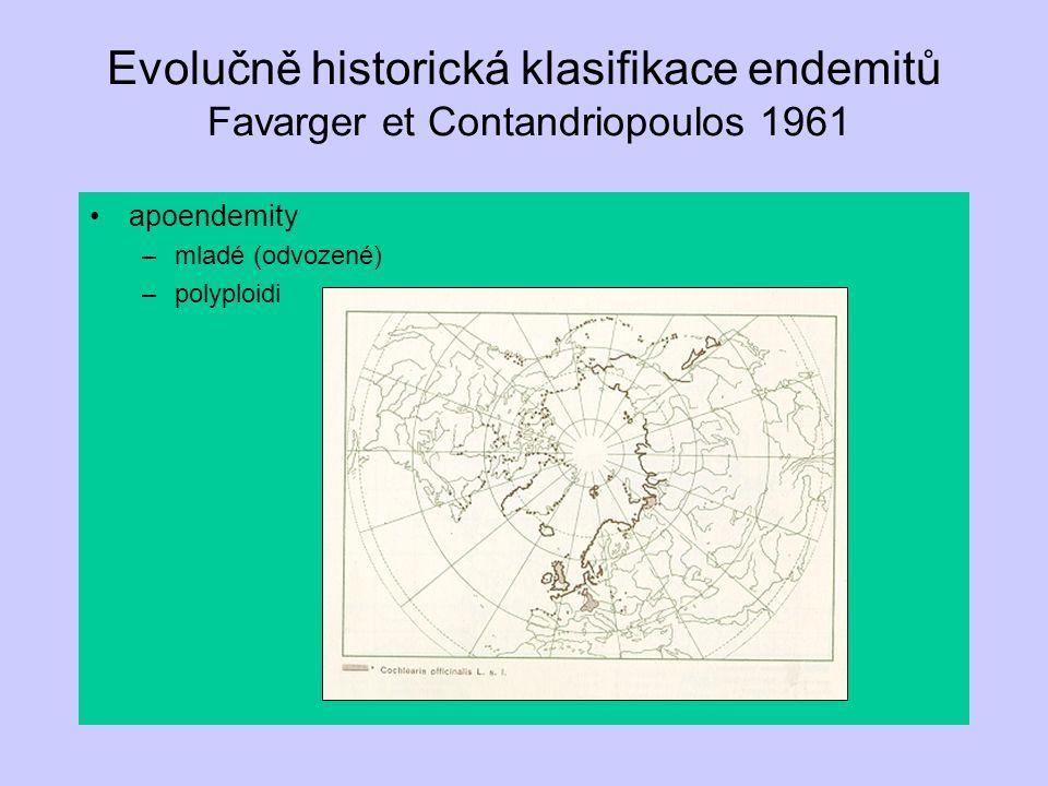 Evolučně historická klasifikace endemitů Favarger et Contandriopoulos 1961 apoendemity –mladé (odvozené) –polyploidi