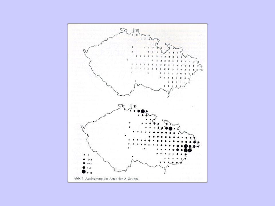 Typy zobrazení areálů bodové –nevýhoda při množství lokalit