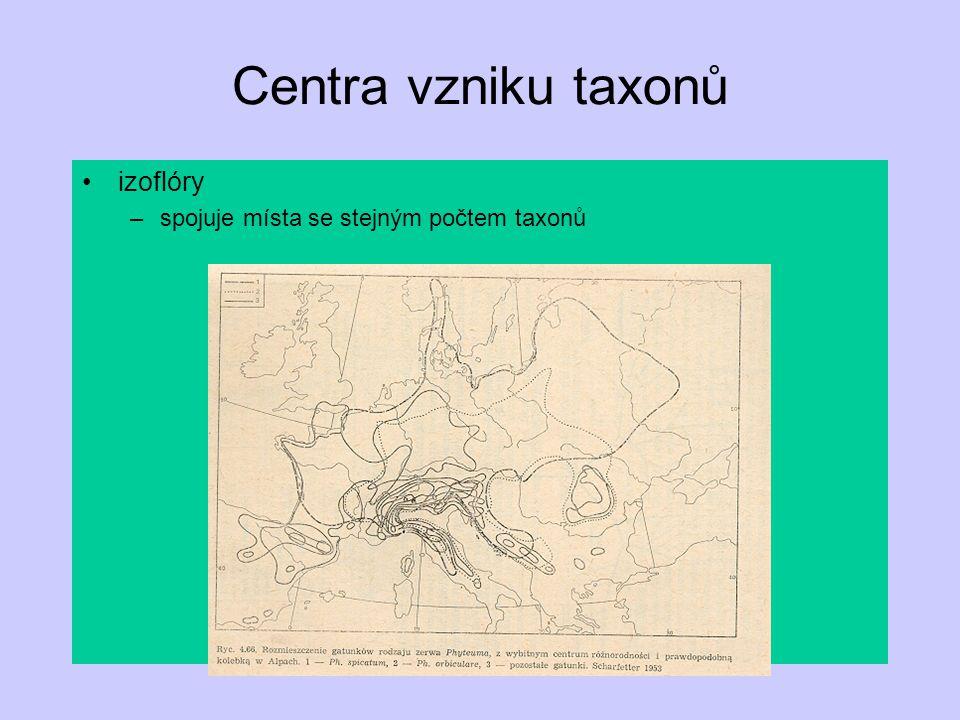 Centra vzniku taxonů izoflóry –spojuje místa se stejným počtem taxonů