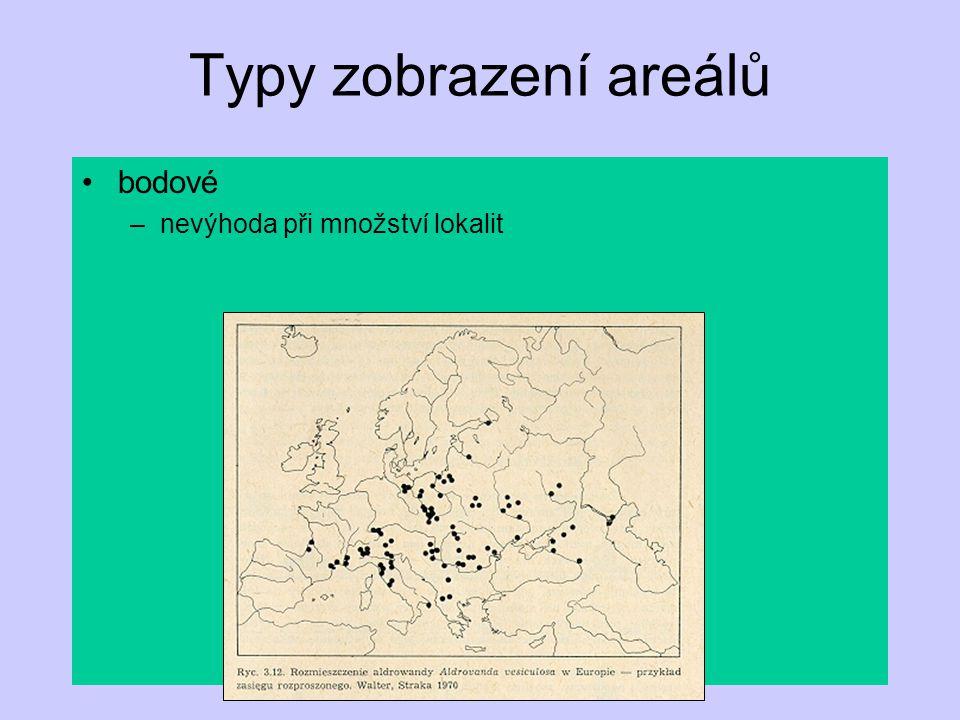 Typy zobrazení areálů obrysové –velká generalizace –nepostihuje vnitřní strukturu kombinace obrysového a bodového –snižuje nevýhody předchozích
